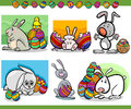 Easter themes set cartoon illustration of happy with bunny and paschal eggs Royalty Free Stock Photos