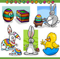 Easter themes set cartoon illustration of happy men with bunny chicken or chick and colored eggs Stock Photo