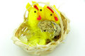 Easter toy chickens look at an egg Royalty Free Stock Photo