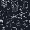 Easter traditional doodle symbols seamless pattern