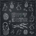 Easter traditional doodle symbols set.