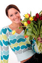Easter tulips woman. Stock Image