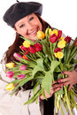 Easter tulips woman. Royalty Free Stock Photography