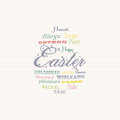 Easter typography multi language background Royalty Free Stock Photos