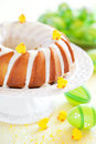 Easter vanilla cake with lemon icing selective focus Royalty Free Stock Images