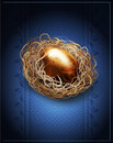 Easter vintage background with a golden egg in the nest vector Stock Photography