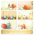 Easter vintage floral template collection Stock Photos