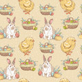 Easter vintage hand-drawn seamless pattern Stock Images