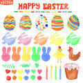 Easter watercolor set cute isolated decor clipart ornament eggs cake silhouette of heart rabbit chicken green branches brushes for Royalty Free Stock Images