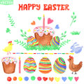 Easter watercolor set isolated decor clipart ornament eggs heart cake rabbit chicken branches and brushes for card invitation Royalty Free Stock Images