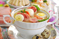 Easter white borsht with quil eggs and sausage Stock Images