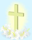 Easter white lily cross Royalty Free Stock Photo