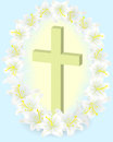 Easter white lily cross Stock Image