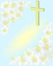 Easter white lily cross Stock Images