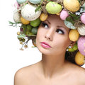 Easter woman spring girl with fashion hairstyle portrait of beautiful model colorful eggs Royalty Free Stock Photography