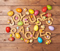 Easter wooden letter composition