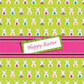 Easter wrapping paper bunny rabbits ribbon pattern has clipping path Royalty Free Stock Images