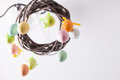 Easter wreath with color eggs on ribbons Royalty Free Stock Image