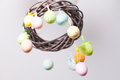 Easter wreath with color eggs on ribbons Stock Photography