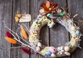 Easter wreath with decor Royalty Free Stock Photo
