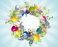 Easter wreath decoration with a of flowers and eggs Royalty Free Stock Photography