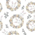 Easter wreath with easter eggs hand drawn seamless pattern on white background.