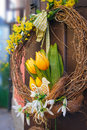 Easter wreath spring decoration with tulips Stock Photo