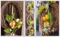 Easter wreath spring decoration on the wooden door of the house collage three photo Royalty Free Stock Photography
