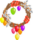Easter wreath with willows colored eggs and ribbons on a white background Stock Images