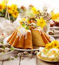 Easter yeast cake with icing and candied orange peel, delicious Easter dessert