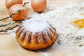 Easter yeast cake on wooden kitchen board Royalty Free Stock Photo