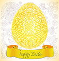 Easter yellow card with egg and floral ornament Royalty Free Stock Image