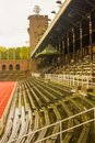 Stockholm Olympic Stadium: the eastern bench, the royal tribune and the tower Royalty Free Stock Photo