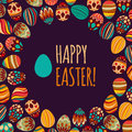 Eastern eggs vector illustration vector pattern with colorful eggs on brown background Stock Photography