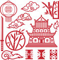 Eastern element collection clip art of red asian style elements Stock Photos