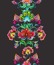Eastern european floral folk art - seamless border with stylized hand crafted flowers. Watercolor stripe