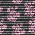Eastern floral seamless print on striped denim backdrop. Pink doodle flowers on a dark gray background, color graphics