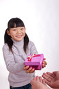 Eastern girl hold gift box Stock Photos