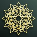 Golden Arabian ornament on a dark background. Eastern Islamic framework. Vector illustration.