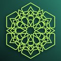 Colored Arabic ornament on a dark background. Symmetrical pattern. Eastern Islamic hexagonal frame. Element for decorating mosque