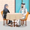Eastern people having dinner in restaurant