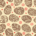 Eastern sketch eggs vector illustration vector seamless pattern with colorful eggs on brown background Stock Photography