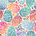 Eastern sketch eggs vector illustration vector seamless pattern with colorful eggs on brown background Stock Photo