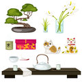 Eastern symbols and Feng Shui, tea ceremony
