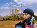 Eastern woman against mosque collage Stock Images