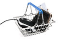 Easy internet shopping web with a computer mouse and a black leather wallet with a credit card in it all in a shiny metal basket Royalty Free Stock Photos