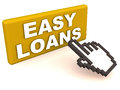 Easy loans words on a button clicked by a mouse hand cursor concept of online loan approval or application Royalty Free Stock Photography