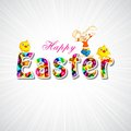 Easy to edit vector illustration bunny chick wishing happy easter Stock Photography