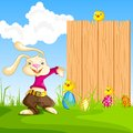 Easy to edit vector illustration bunny showing blank board easter message Stock Photography