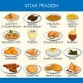 Illustration of delicious traditional food of Uttar Pradesh India